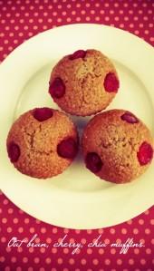 Oat bran, cherry, chia muffins.