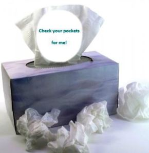 The best way to fix those pesky tissues in the wash!