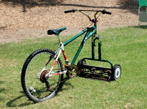 "Now we just have to modify his bike so he can have a ""Mowercycle"", then he can mow the lawns for us too!  ;)"