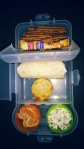 Salad wrap, Banana Bread Muffin (recipe found in Recipes category of this blog), pretzel sticks, mandarin segments (peeled to make life easier and allow more time for play and less mess!), popcorn popped in coconut oil, and a muesli bar.