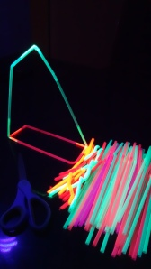 Scissors, Neon Drinking Straws and Neon Pipe Cleaners.