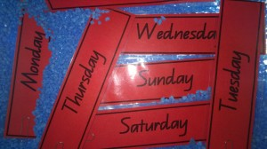 We also used our magnetic days of the week cards.