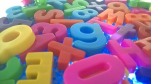 We also used our magnetic  letters and numbers.