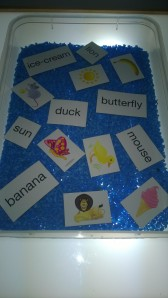 We also used our words and picture magnets to fish and then match up.