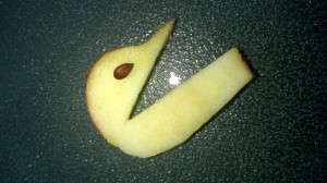 Then place an apple seed on to the place where it looks like an eye should go.